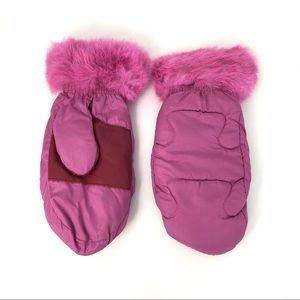 Vintage Grandoe Pink Mittens Faux Fur Fleece Lined